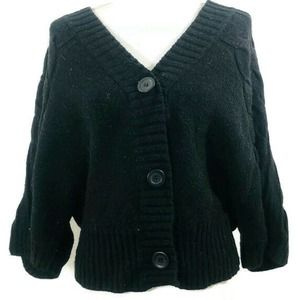 Nine West Black Knit Dolman Cardigan Sweater Wool